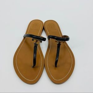 Tory Burch T Logo Patent Leather Thong Sandals
